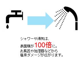 水道水シャワー 塩素